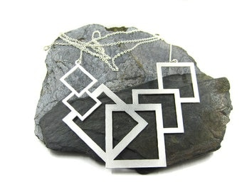 Silver Square Necklace, Geometric Necklace, Design Necklace, Bold Necklace, Large Pendant Necklace, Silver Geometric Jewelry, Unique Gift