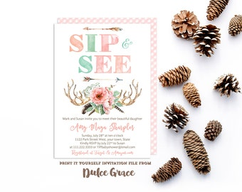 sip and see invitations, boho baby party invitations, meet baby invites, bohemian sip & see, tribal invitations, arrows antlers invites