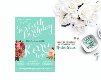 aqua blue birthday invitation, surprise invite, adult birthday invitation, vintage invite. printable invite, digital invitation