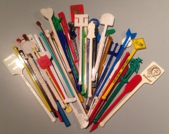 vintage swizzle sticks, large lot