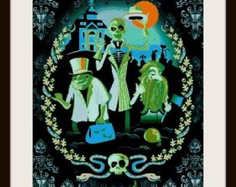 Haunted mansion 1, cross stitch pattern, cross stitch haunted mansion, PDF pattern, instant download!