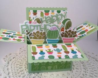 Cactus/Succulent Happy Birthday Pop Up Card