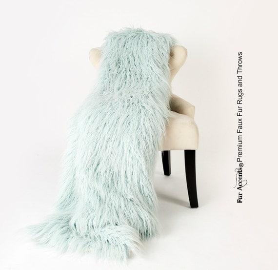 Luxurious Faux Fur Throw Blanket Light Mint Green Aqua