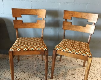 Pair of solid wood Mid Century Modern Dining Chairs