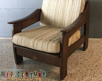 Mid Century Rustic Modern Solid Walnut Lounge Chair