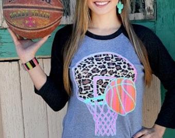 Basketball Crazy Train Shirt ~ 3/4 Length Sleeves ~ Leopard Print