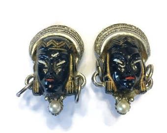 Vintage Selro Asian Princess Earrings, Unsigned Selro Selini Enamel Clip Earrings, Costume Jewelry