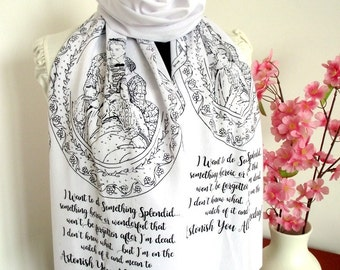 LITTLE WOMEN Book scarf Literary Scarf Book Scarf Quote Scarf Christmas Gift Bookish Gift Text scarf book lovers scarf Romantic scarf Family