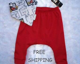 Baby boys pants, Baby boys harem pants, Berry red, baby pants size 3 months, size 6 months,Boys pants size 1 AND 2  FREE BIB and Shipping.