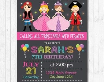 Princesses And Pirates Birthday Invitation , Princess Invitation, Pirates Invitation, Pirates Invite, Chalkboard, Girl, Printable