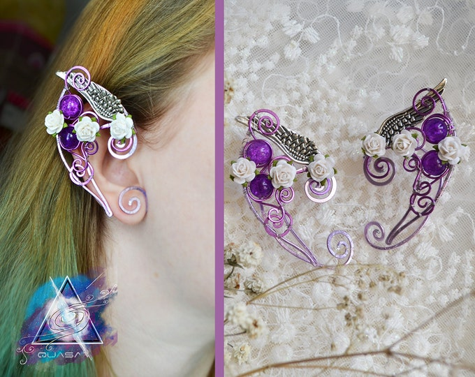 "Elven ear cuffs ""Fairy in flowers"" 