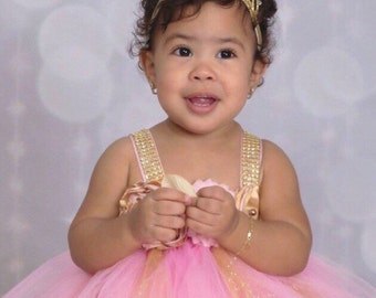 Beautiful baby girl first birthday tutu  dress in gold and baby pink 12-18 months