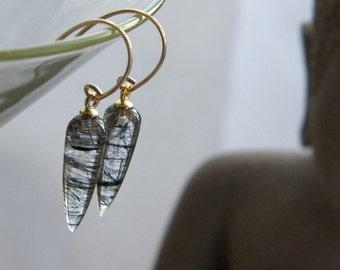 Black Tourmalinated Spike Icicle Drop earrings, Genuine Quartz, Women's Jewelry, Tourmalinated Quartz, Gold Filled, KarenWolfeCreations