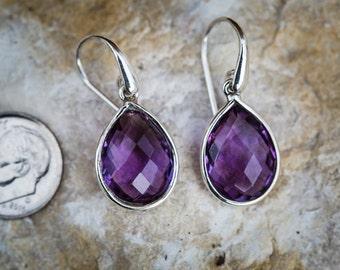 Amethyst Checkerboard Cut Drop Earrings - February birthstone earrings - Amethyst dangle earrings - Amethyst earrings - Sterling Silver