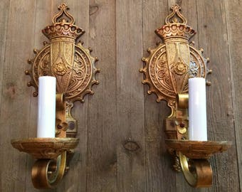 Vintage Antique 1930s Sconce PAIR Stamped Pat Pending