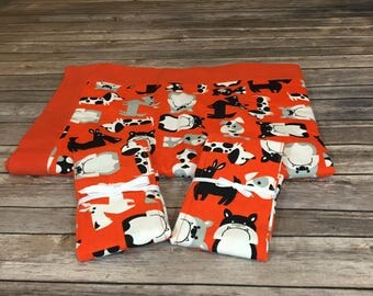 Baby Gift Set - Orange, Black, and White Dogs