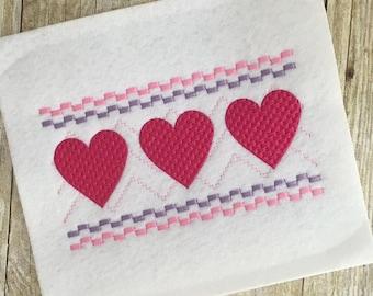 Heart Embroidery - Heart Smock Embroidery - Heart Faux Smock - Valentine's Day Embroider - Valentine's Day Smock