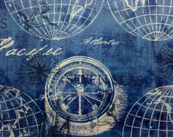 One Half Yard of Fabric Material -  Globes on Blue