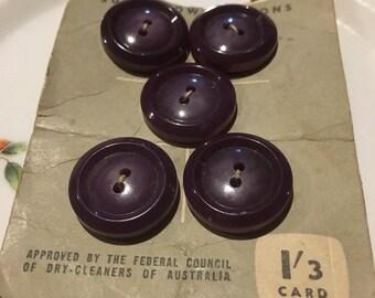Vintage  set of  5 Navy Blue Buttons on original card.