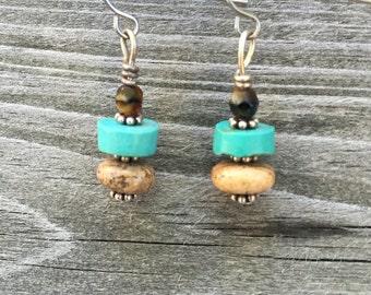 Handmade Turqouise BoHo, Tribal Drop Dangle Earrings 016E