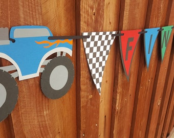 monster truck, birthday party, checkered flags, boys birthday party