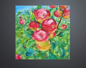 Picture Art Original Oil Painting Fruits, Apples in the garden