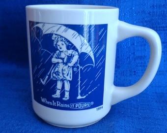 Vintage Morton Salt Coffee Mug, When It Rains It Pours Mug