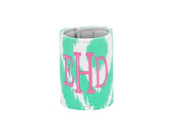 Mint Ikat Drink Wrap, Personalized Drink Wrap,