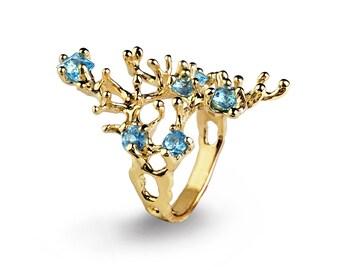 REEF Gold Blue Topaz Ring, Gemstone Ring, Gold Statement Ring, Organic Ring, Blue Topaz Engagement Ring