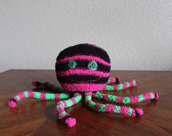 Handcrafted Plush Fuzzy Sock Octopus - Purple, Black + Green Stripes