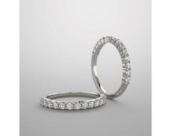 Gemstone Eternity Band, 14K White Gold, Customized, Diamonds, Moissanite, Aquamarine, Emerald, Alexandrite, Zircon