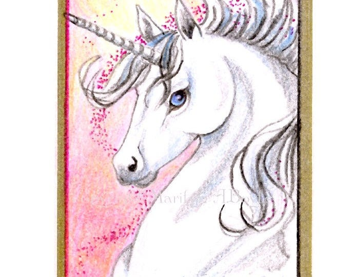 ORIGINAL ACEO-UNICORN; pencil crayon, sparkle, gold ink border,gold washi tape, 2.50 x 3.50 inches,miniature art, collectible