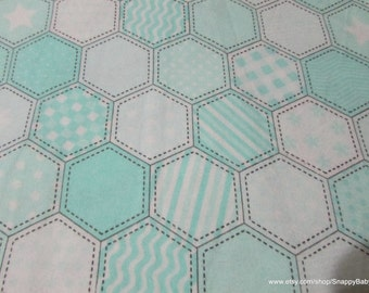 Flannel Fabric - Mint Quilt Pattern - By the yard - 100% Cotton Flannel