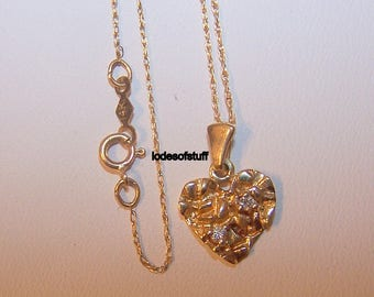 Gold Heart Necklace 14k Gold Nugget, Nugget Necklace Diamonds