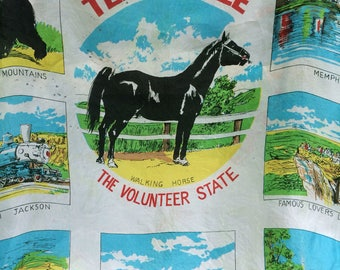 Tennessee souvenir scarf,Memphis Queen,Great Smoky Mountains souvenir,state souvenir,TN souvenir,lakehouse decor,vintage TN,unique wall art