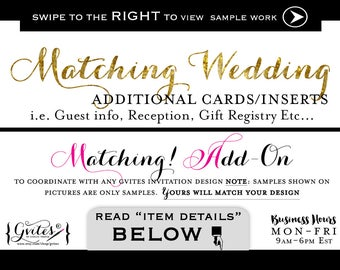Matching Enclosure Card Add-on - To coordinate with any Gvites invitation design. Guest info, reception, gift registry, additional inserts.