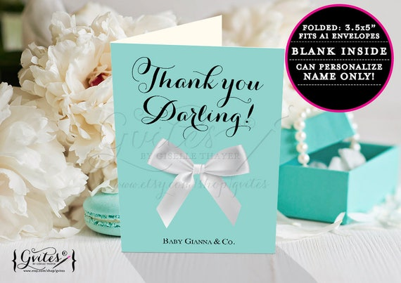 "Baby and co Thank you cards, shower thank you cards, breakfast at baby shower template thank you note PRINTABLE 3.5x5"" 2 Per/Sheet"