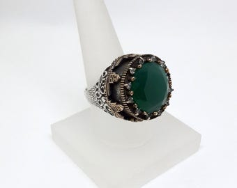 Maiden's Tower Figure Ring, Emerald Ring, Rose silver Ring, Silver Ring, Zircon Ring