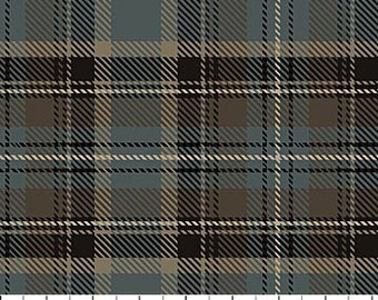 Beige/Brown/Blue Plaid Print FLANNEL Quilting Cotton Fabric  [[by the half yard]]