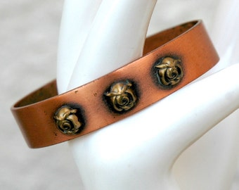 Copper Cuff with Brass Flowers Cuff Bracelet Vintage