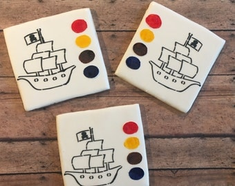 Pirate boat/ paint your own cookie / boat cookie/ sugar cookies- 1 dozen cookies