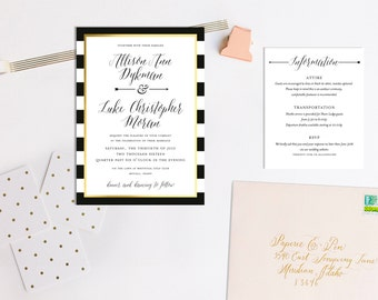 Traditional Black, White and Gold Wedding Invitation