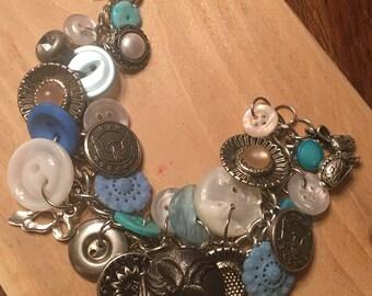 Silver blue button bracelet