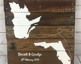 Personalized Wedding map sign, 3 State Guest book Alternative, Wedding guest book, Map art,  handmade event Guest book, anniversary gift