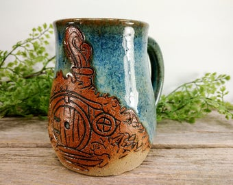 Hobbit Hole Mug 16 oz- Earthy Blue- Wheel Thrown and Hand Carved Coffee Cup