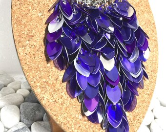"Cascading ""Bib"" Necklace/Collar -- Purple Rain"