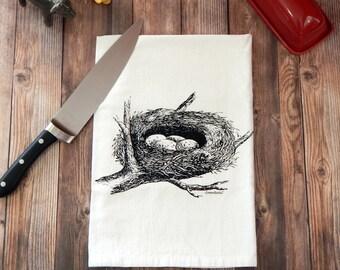 Bird Tea Towel - Birds Nest Kitchen Towel
