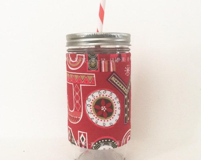 Christmas Joy - Mason Jar Tumbler 24oz -Insulated Cozy - BPA free straw - personalized
