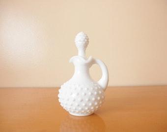 "Vintage AVON Hobnail Perfume Bottle-Collectable White Hobnail Milk Glass Bottle ""Elusive, Foaming Bath Oil"" Bottle 5 FL OZ."
