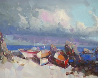 Boats on the Shore, Original oil painting, Seascape, Handmade by palette knife, one of a kind
